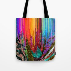 Peacock Mermaid SUNSET Abstract Geometric Tote Bag