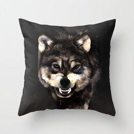 Growling Wolf Throw Pillow