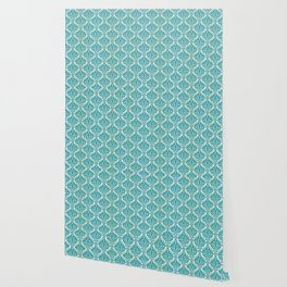 Teal and Ecru Damask Wallpaper