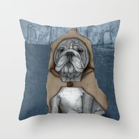 english bulldog Throw Pillows featuring English Bulldog in Stonehenge by Barruf