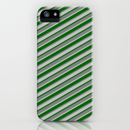 Dark Green, Gray, and Grey Colored Stripes/Lines Pattern iPhone Case