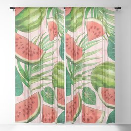 Watercolor Leaves and Watermelons  Sheer Curtain