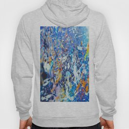 Canvas with blues orange and gold Hoody