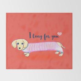 Valentine's Day dachshund dog Throw Blanket