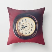 wall clock Throw Pillows featuring Old wall clock by Elisabeth Coelfen