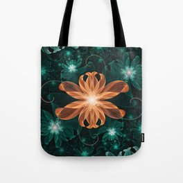 Alluring Turquoise and Orange Tiger Lily Flower Tote Bag