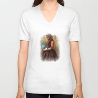 laptop V-neck T-shirts featuring LAPTOP USERS by Sofia Youshi