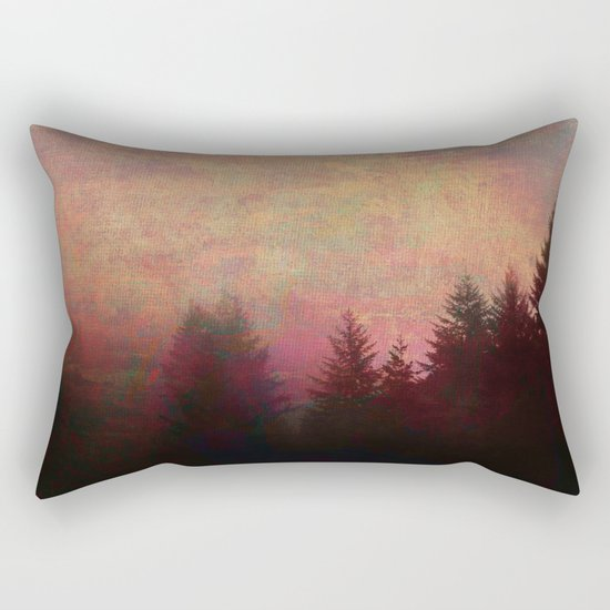Repose, Abstract Landscape Trees Sky Rectangular Pillow