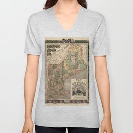Map of New England 1847 Unisex V-Neck