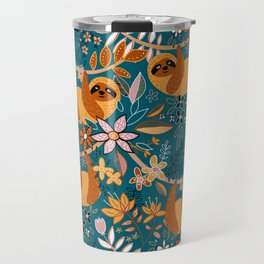 Happy Boho Sloth Floral Travel Mug