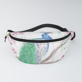 "Watercolor Painting of Picture ""Peacock"" Fanny Pack"