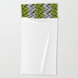black white chartreuse wisteria flower bud silhouette Beach Towel