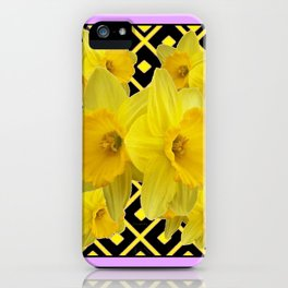 Charcoal Grey Lilac Yellow Daffodils art iPhone Case