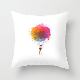 Watercolor Skydiving Parachuting Skydiver Sports Throw Pillow