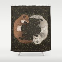 foxes Shower Curtains featuring Foxes by Jessica Roux