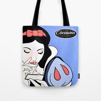 cocaine Tote Bags featuring Snow White: Cocaine Attitude by Trash Apparel