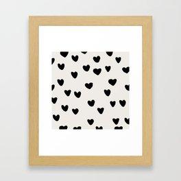 Big Hearts Brush Strokes Pattern Framed Art Print