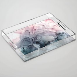 Blush and Payne's Grey Flowing Abstract Painting Acrylic Tray
