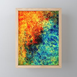 Abstract painting orange blue Framed Mini Art Print
