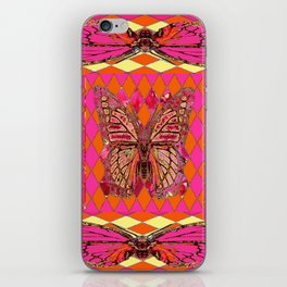 ABSTRACT MONARCH BUTTERFLY IN PINK-YELLOW iPhone Skin