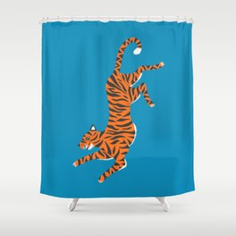 Blue Tiger Shower Curtain