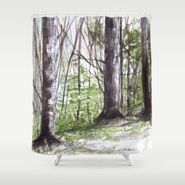 Woodland Trees in Vermont Illustration Nature Art Shower Curtain
