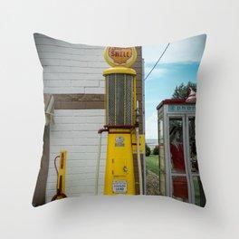 Vintage Shell Gas Pump Throw Pillow