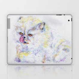 Grouchy Fluffy Cat Just Takin' a Bath Laptop & iPad Skin