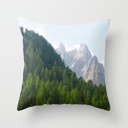 Forest Pines and Mountain Spikes Throw Pillow