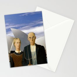 American Gothic Farmers Visit Opera House Sydney Stationery Cards