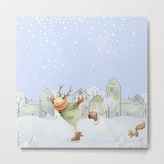 Merry christmas- Ice skating Deer and squirrel are having Winter fun Metal Print
