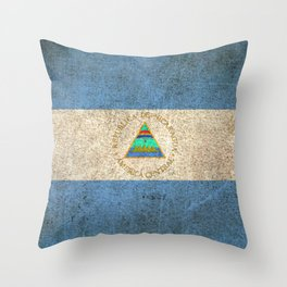 Old and Worn Distressed Vintage Flag of Nicaragua Throw Pillow