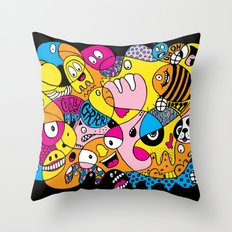 Crazy Bird Blob Throw Pillow