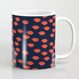 Red Lips on Navy Blue Background Coffee Mug