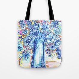 Blue flower vase Tote Bag
