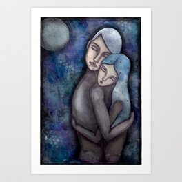 Lovers Under the Moon Art Print