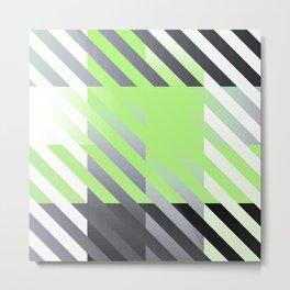 Agender Pride Diagonally Striped Checkered Squares Metal Print