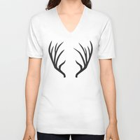 antlers V-neck T-shirts featuring antlers by Amanda Nicole
