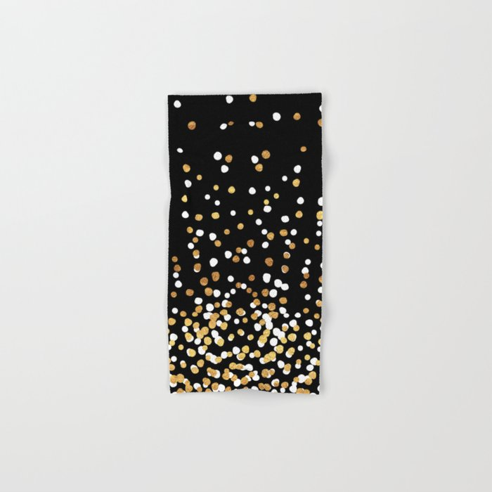 Floating Dots White And Gold On Black Hand Bath Towel By Fancyashelltees Society6