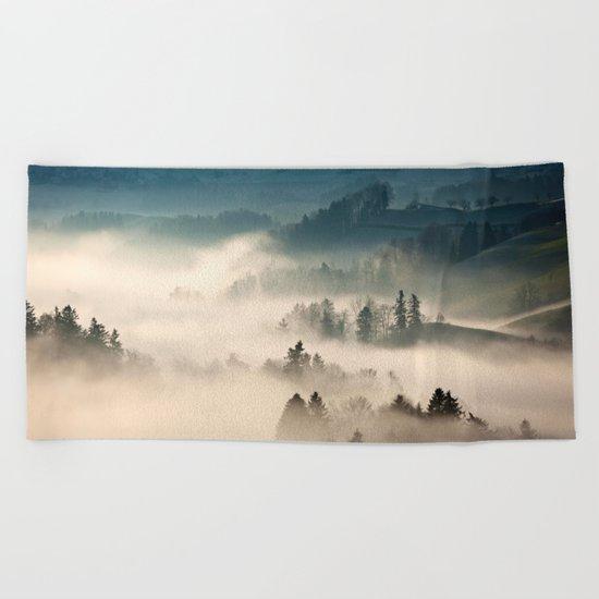 Scotland Fog Beach Towel