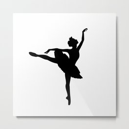 Ballerina silhouette (black) Metal Print