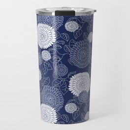 Indigo Chrysanthemums Travel Mug
