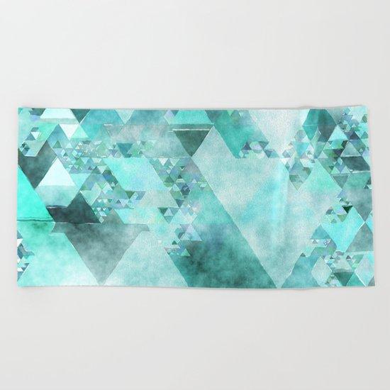 Triangles in aqua - Modern turquoise green blue triangle pattern Beach Towel