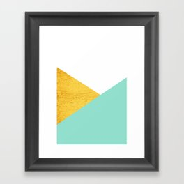 Gold & Aqua Blue Geometry Framed Art Print
