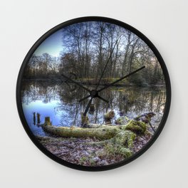 Frosty Morning Pond Wall Clock