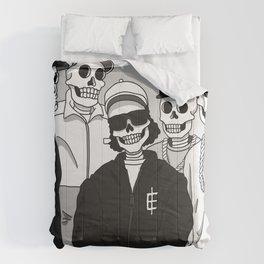 Skulls With Attitude Black White Comforters