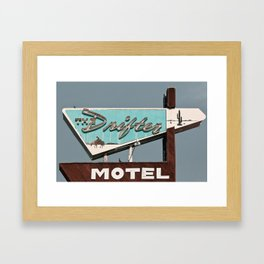 Vintage Neon Sign - The Drifter - Silver City Framed Art Print