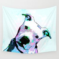 pit bull Wall Tapestries featuring Pit bull - Puzzled - Pop Art by William Cuccio aka WCSmack