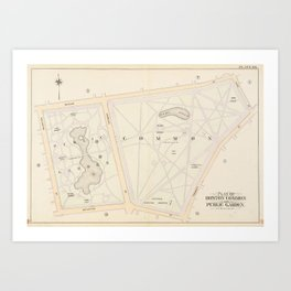 Vintage Map of The Boston Commons (1895) Art Print