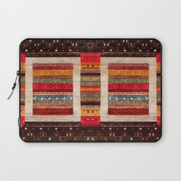 Bohemian Oriental Traditional Moroccan Rug Style Illustration Laptop Sleeve